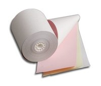three ply white yellow pink paper rolls
