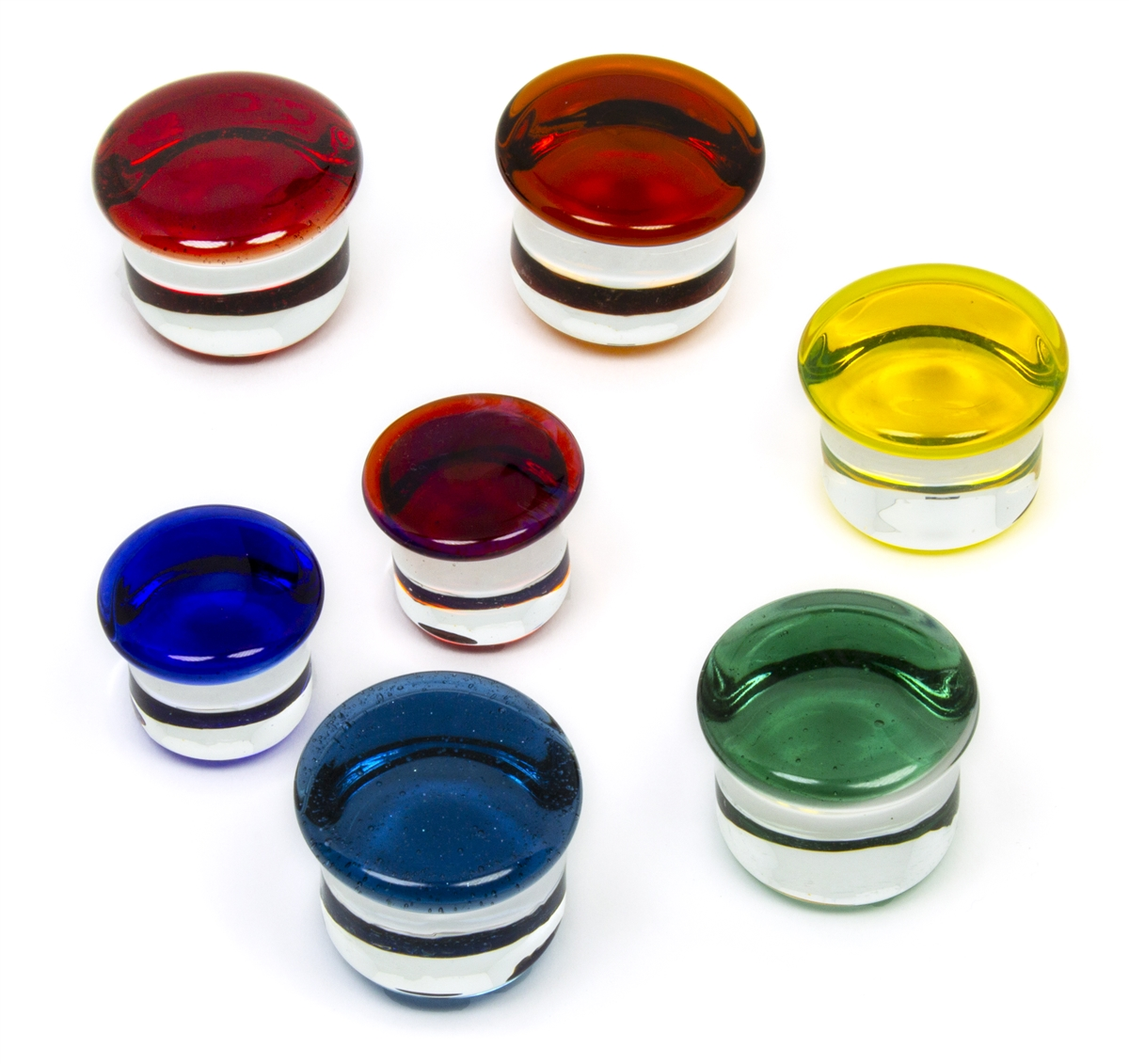 Pair of Cobalt Glass Single Flared Color Front Plugs