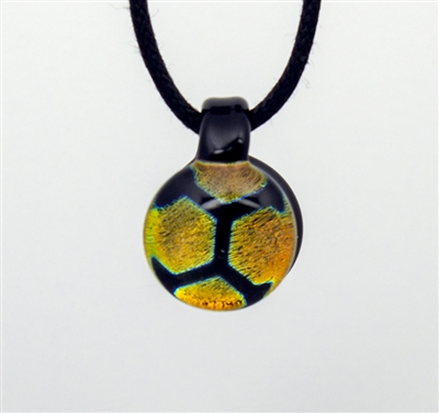 Orange Blue Honeycomb Foil Image Pendant