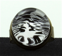 White Black Marble Ring