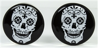 White Sugar Skull on Black DF (25.4mm)