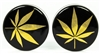 Gold Hemp Leaf on Black DF (28mm)