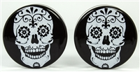 White Sugar Skull on Black DF (38mm)