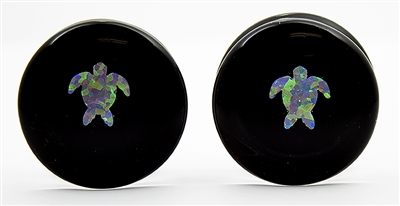 Turtle Opals on Black Plugs