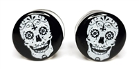 White Skull on Black Plugs DF