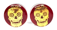 Gold Skull on Ruby Plugs DF