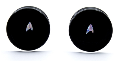 Star Trek Arrowhead Opals on Black Plugs