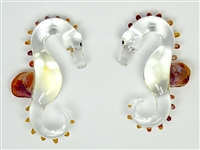 Clear and Amber Purple Seahorse Weights