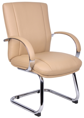 Aaria Collection Elektra Guest Chair/ Chrome Finish/ Tan Upholstery