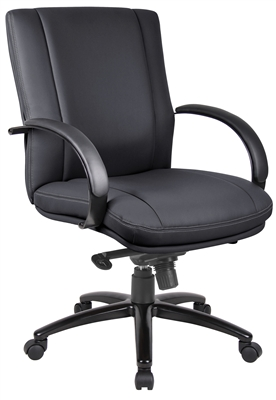 Aaria Collection Elektra Mid Back Executive Chair / Black Finish / Black Upholstery