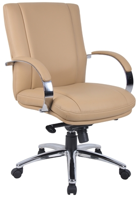 Aaria Collection Elektra Mid Back Executive Chair / Chrome Finish / Tan Upholstery