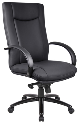 Aaria Collection Elektra High Back Executive Chair / Black Finish / Black Upholstery/ Knee Tilt