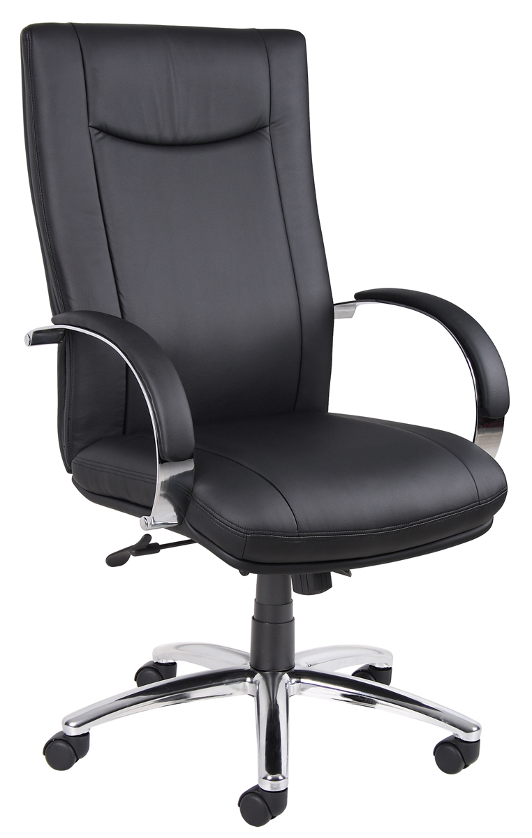 Aaria Collection Elektra High Back Executive Chair / Chrome Finish / Black  Upholstery/ Knee Tilt