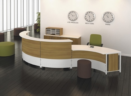 Curved 2 Person Round Reception Desk By Artopex From Boca Raton
