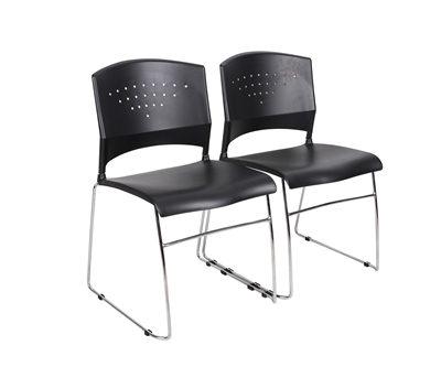 Boss Black Stack Chair With Chrome Frame 4 Pcs Pack