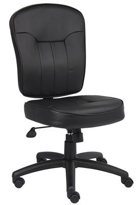 Boss Black Leather Armless Task Chair