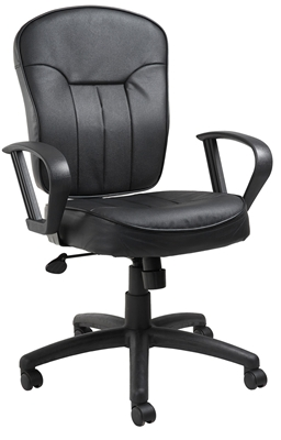 Boss Black Leather Task Chair W/ Loop Arms