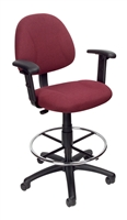 Boss Drafting Stool (B315-By) W/Footring And Adjustable Arms