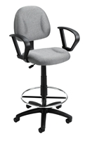 Boss Drafting Stool (B315-Gy) W/Footring And Loop Arms