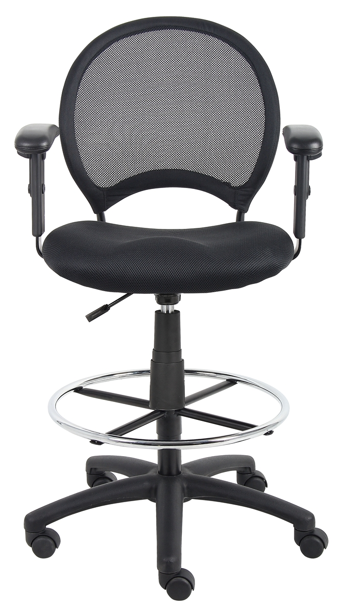 Boss Mesh Drafting Stool W Adjustable Arms B16216