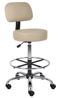 Boss Caressoft Medical/Drafting Stool W/ Back Cushion