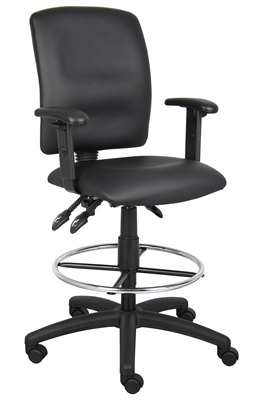 Boss Multi-Function Leatherplus Drafting Stool W/ Adjustable Arms