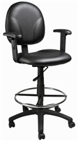 Boss Black Caressoft Drafting Stools W/Adj Arms & Footring