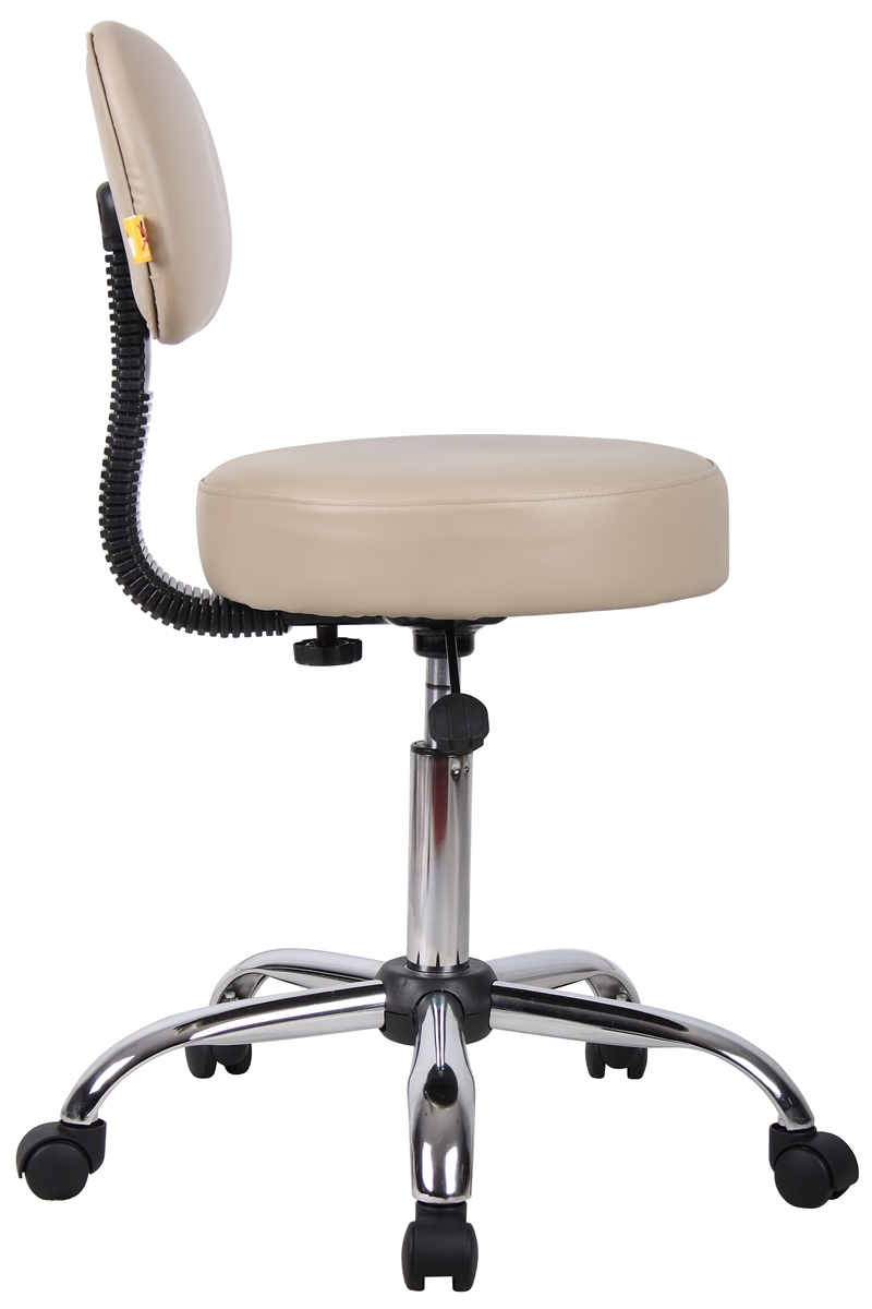 Boss B245 Beige Caressoft Medical Stool W Back Cushion