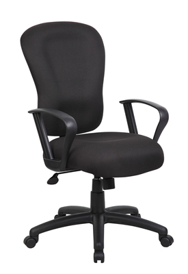 Boss Black Computer Task Chair With Loop Arm