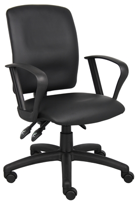 Boss Multi-Function Leatherplus Task Chair W/Loop Arms