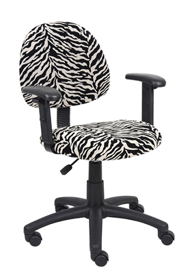 Boss Zebra Print Microfiber Deluxe Posture Chair W/ Adjustable Arms.