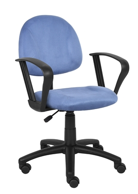 Boss Blue Microfiber Deluxe Posture Chair W/ Loop Arms.