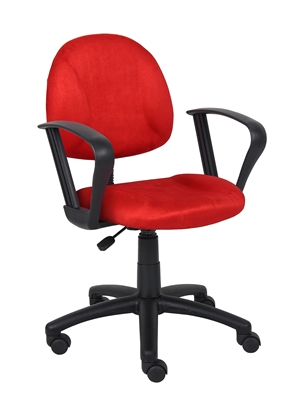 Boss Red Microfiber Deluxe Posture Chair W/ Loop Arms.