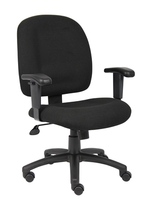 Boss Black Fabric Task Chair W/ Adjustable Arms