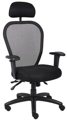 Boss Mesh Chair W/3 Paddle Mech & Headrest