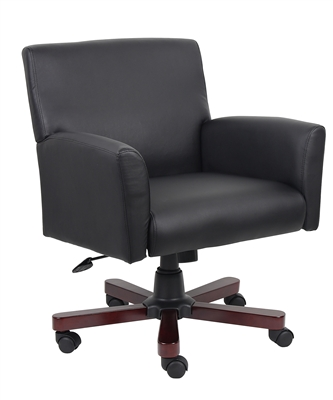 Boss Executive Box Arm Chair W/Mahogany Base