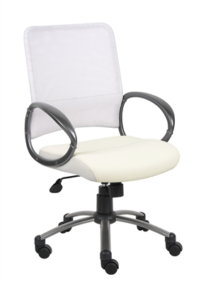 Boss White Mesh Back W/ Pewter Finish Task Chair