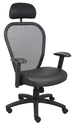 Boss Professional Managers Mesh Chair W/ Headrest & Leather Seat