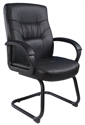 Boss Executive Mid Back Leatherplus Guest Chair W/ Cantilever Sled Base