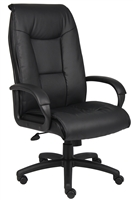 Boss Executive Leather Plus Chair W/Padded Arm