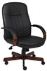 Boss Leatherplus Exec. Chair W/ Mahogany Finish