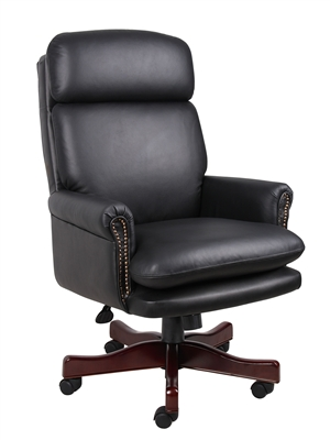 Boss Traditional Back Executive Chair In Black W/Mahogany Base
