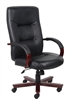 Boss Executive Leather High Back Chair W/ Mahogany Finished Wood