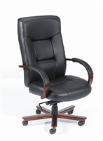 Boss Executive Leather High Back Chair W/ Mahogany Finished Wood W/ Knee Tilt