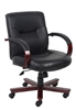 Boss Executive Leather Mid Back Chair W/ Mahogany Finished Wood