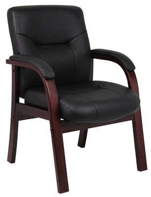 Boss Executive Leather Guest Chair W/ Mahogany Finished Wood