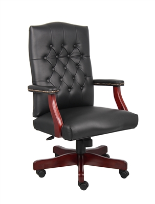 Boss Classic Black Caressoft Chair With Mahogany Finish