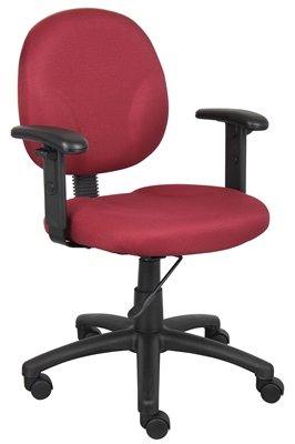 Boss Diamond Task Chair In Burgundy W/ Adjustable Arms