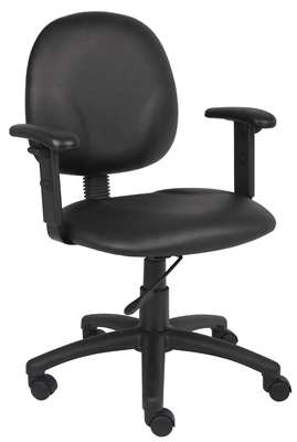 Boss Diamond Task Chair In Black Caressoft W/ Adjustable Arms