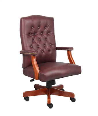 Boss Executive Burgundy Leather Chair With Cherry Finish